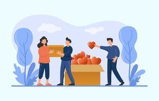 Freiwillige sammeln Spenden für wohltätige Zwecke vektor