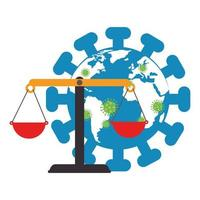 världsplanet med partiklar covid 19 och balans