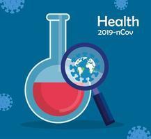 världsplanet med partiklar 2019 ncov i förstoringsglas och rörtest