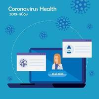 medicin online-teknik med laptop och läkare kvinna vektor