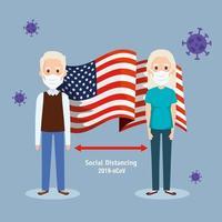altes Ehepaar mit USA-Flagge covid19 Pandemie