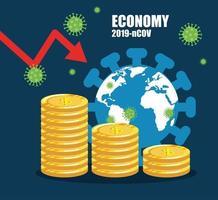 wirtschaftliche Auswirkungen bis 2019 ncov mit Weltplaneten und Ikonen vektor