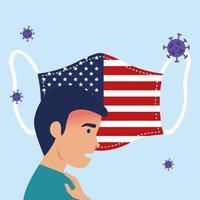 Mann krank mit Gesichtsmaske USA Flagge covid19 vektor