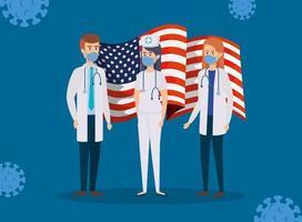 Ärzte mit Usa-Flagge und covid19-Partikeln vektor