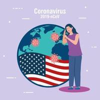 Frau krank mit USA Flagge covid19 Pandemie vektor