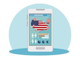 Smartphone mit USA Flagge covid19 Pandemie vektor