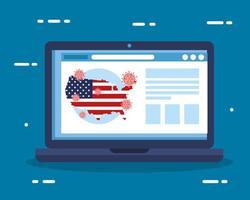 Laptop mit USA-Flagge in Karte covid19 Pandemie vektor
