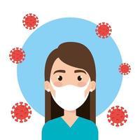 Frau mit Gesichtsmaske für covid19 Pandemie vektor