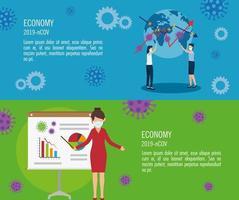Setzen Sie Banner mit Auswirkungen auf die Wirtschaft bis 2019 ncov mit Symbolen vektor