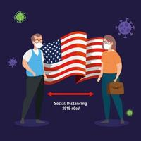 Paar mit USA Flagge covid19 Pandemie vektor