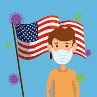 Mann mit Gesichtsmaske und USA Flagge covid19 Pandemie vektor