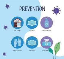 covid19 pandemi infografisk med förebyggande metoder vektor