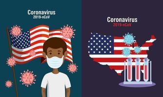 USA Flagge und Karte in Set covid19 Icons vektor