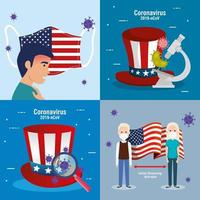 USA Flagge und Karte in Set covid19 Icons