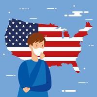 USA Karte und Flagge mit covid19 Partikeln und Patienten vektor