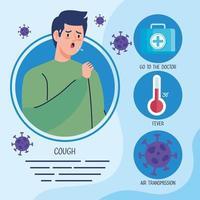 Mann krank mit Thermometer und Covid-Partikeln vektor
