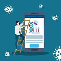 läkare kvinna med medicin online genom test av covid 19 vektor