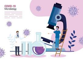 Mikrobiologie für covid 19 mit medizinischen und medizinischen Symbolen des Personals vektor