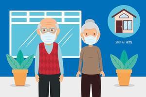 gamla par använder ansiktsmasker för covid19 pandemi vektor