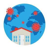 planetjord med covid19-partiklar med hus vektor