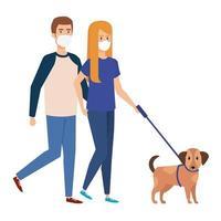 ungt par som använder ansiktsmask som går med hund