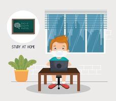 Kampagne zu Hause bleiben mit einem Jungen, der online lernt