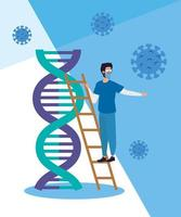 Sanitäter- und DNA-Struktur mit Partikeln covid 19 vektor