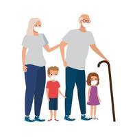 morföräldrar med barnbarn som använder ansiktsmask