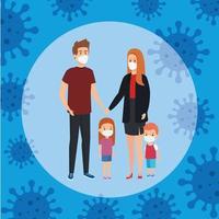 Eltern mit Kindern mit Gesichtsmaske und Partikeln covid 19 vektor