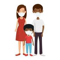 Eltern mit Sohn mit Gesichtsmaske vektor