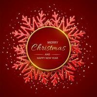 Weihnachtsroter Hintergrund mit leuchtenden Schneeflocken. Frohe Weihnachten Grußkarte. Weihnachts- und Neujahrsplakat, Web-Banner. vektor