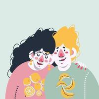 das liebende Paar zusammen vektor