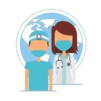 junge Ärzte tragen medizinische Masken mit dem Planeten Erde vektor