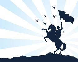 silhouettierter Militärsoldat, der Flagge auf Pferd schwenkt vektor