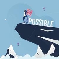 Der Geschäftsmann ändert das Wort unmöglich in ein Konzept für eine mögliche geschäftliche Herausforderung vektor