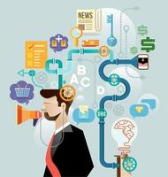 Geschäftsmann schaffen Ideenkonzeptvektor