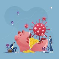 gebrochenes Sparschwein durch Coronavirus-Covid-19-Pandemie-Crash-wirtschaftliches Crash-Konzept vektor
