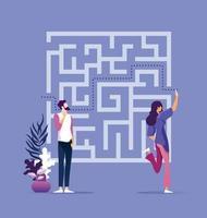 Geschäftslösungskonzept mit Geschäftsfrau, die Weg durch Labyrinth findet vektor
