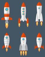 uppsättning olika raketer. vektor