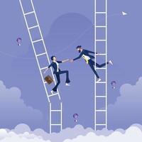 Geschäftsmann, der Hand gibt, um einer anderen Geschäftsfrau zu helfen, die auf gebrochenem Leiter-Hilfe- und Unterstützungskonzept ist vektor