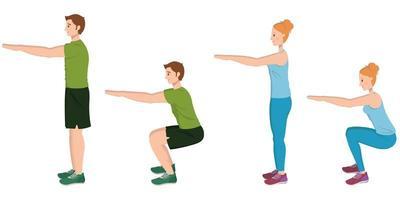 Mann und Frau machen Kniebeugen. vektor