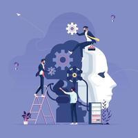 Geschäftsteam, das Konzept für künstliche Intelligenz, maschinelles Lernen und künstliche Intelligenz erstellt vektor