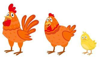 Seitenansicht der Hühnerfamilie. vektor