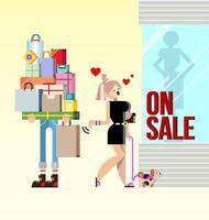 Einkaufen Frau und Freund hält Pakete Vektor