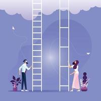 Ungleichheit im Unternehmensgeschäftsvektorkonzept mit Geschäftsmann und Geschäftsfrau