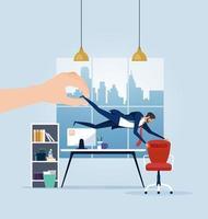 Geschäftsmann, der von einer riesigen Hand von einem Bürostuhl weggezogen wird vektor