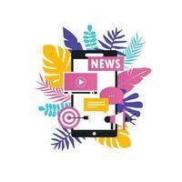 online-nyheter, tidning, nyhetswebbplats platt vektorillustration