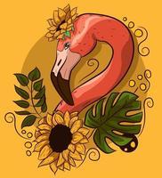 Blumenvektorzeichnung mit einem Flamingohals mit Blumen.