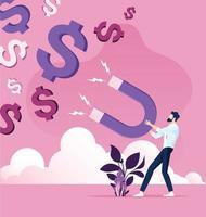 Geschäftsmann fängt Dollar mit Geldmagnet vektor
