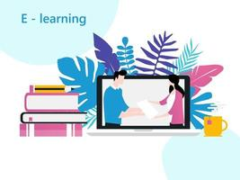 Online-Unterricht, Online-Schule, E-Learning, Heimstudium, Fernunterricht, virtuelles Klassenzimmer vektor